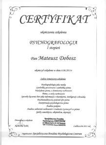 Certyfikat - Psychografologia I st. - Mateusz Dobosz