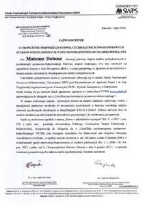 zaświadczenie o ukończeniu czteroletnich dwustopniowych studiów podyplomowych w psychoterapii poznawczo-behawioralnej - Mateusz Dobosz